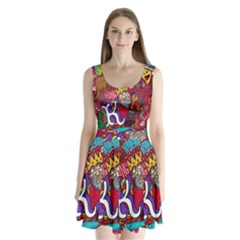 K Pattern Cartoons Split Back Mini Dress
