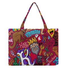 K Pattern Cartoons Medium Zipper Tote Bag