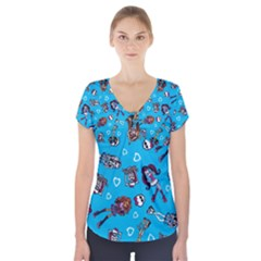 Large Short Sleeve Front Detail Top