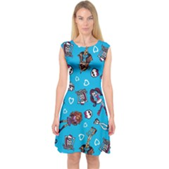 Large Capsleeve Midi Dress