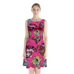 Large 1 Sleeveless Chiffon Waist Tie Dress