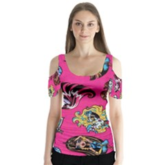 Large 1 Butterfly Sleeve Cutout Tee