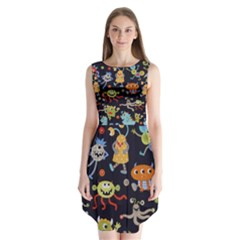 Large Pablic Cartoons Sleeveless Chiffon Dress
