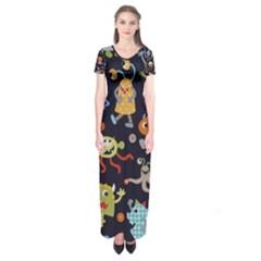 Large Pablic Cartoons Short Sleeve Maxi Dress
