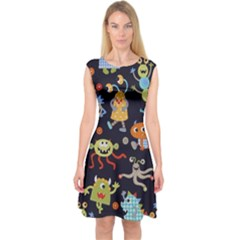 Large Pablic Cartoons Capsleeve Midi Dress