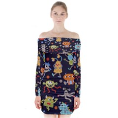 Large Pablic Cartoons Long Sleeve Off Shoulder Dress