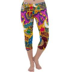 M Pattern Capri Yoga Leggings
