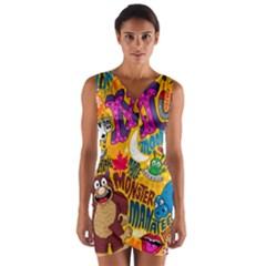 M Pattern Wrap Front Bodycon Dress