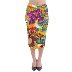 M Pattern Midi Pencil Skirt