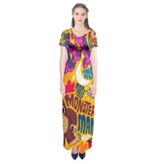 M Pattern Short Sleeve Maxi Dress