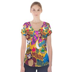 M Pattern Short Sleeve Front Detail Top
