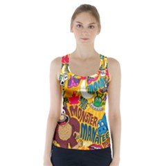 M Pattern Racer Back Sports Top