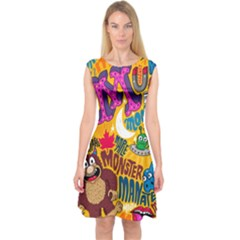 M Pattern Capsleeve Midi Dress