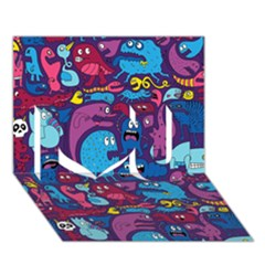 Mo Monsters Mo Patterns I Love You 3D Greeting Card (7x5)