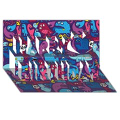 Mo Monsters Mo Patterns Happy Birthday 3d Greeting Card (8x4)