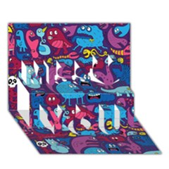 Mo Monsters Mo Patterns Miss You 3D Greeting Card (7x5)