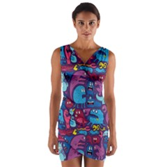 Mo Monsters Mo Patterns Wrap Front Bodycon Dress