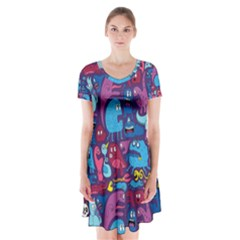 Mo Monsters Mo Patterns Short Sleeve V Neck Flare Dress
