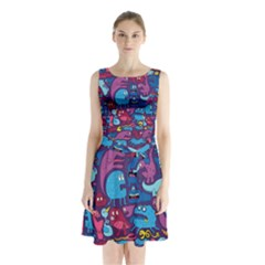 Mo Monsters Mo Patterns Sleeveless Chiffon Waist Tie Dress