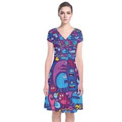 Mo Monsters Mo Patterns Short Sleeve Front Wrap Dress