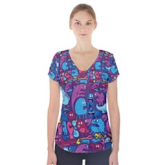 Mo Monsters Mo Patterns Short Sleeve Front Detail Top