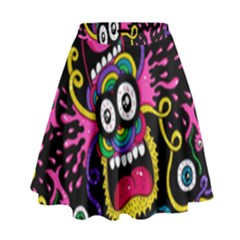 Monster Face Mask Patten Cartoons High Waist Skirt