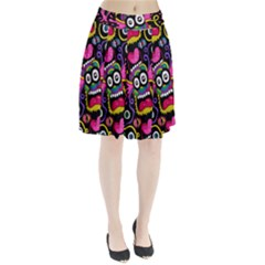 Monster Face Mask Patten Cartoons Pleated Skirt