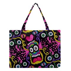 Monster Face Mask Patten Cartoons Medium Tote Bag