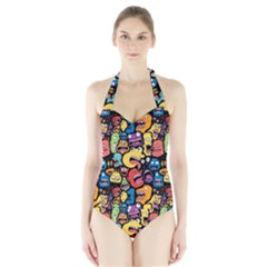 Monster Faces Halter Swimsuit