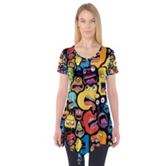 Monster Faces Short Sleeve Tunic