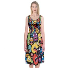 Monster Faces Midi Sleeveless Dress