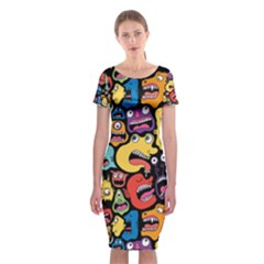 Monster Faces Classic Short Sleeve Midi Dress