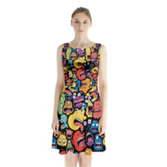Monster Faces Sleeveless Chiffon Waist Tie Dress