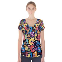 Monster Faces Short Sleeve Front Detail Top