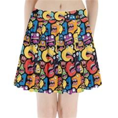 Monster Faces Pleated Mini Skirt