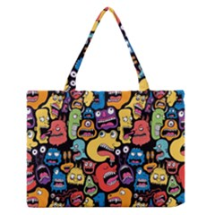 Monster Faces Medium Zipper Tote Bag