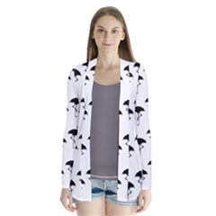 Flamingo Pattern Black On White Drape Collar Cardigan