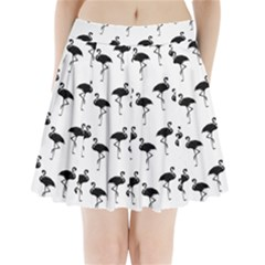 Flamingo Pattern Black On White Pleated Mini Skirt