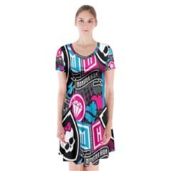 Monster High Short Sleeve V Neck Flare Dress