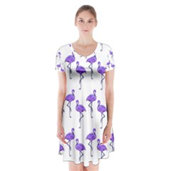 Flamingo Neon Purple Tropical Birds Short Sleeve V-neck Flare Dress