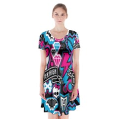 Monster High 03 Short Sleeve V-neck Flare Dress