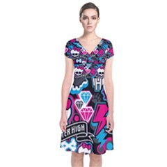 Monster High 03 Short Sleeve Front Wrap Dress