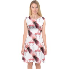 Flamingo Pineapple Tropical Pink Pattern Capsleeve Midi Dress