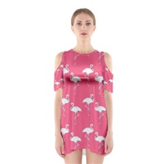 Flamingo White On Pink Pattern Cutout Shoulder Dress