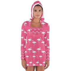 Flamingo White On Pink Pattern Women s Long Sleeve Hooded T-shirt
