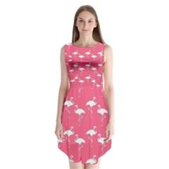 Flamingo White On Pink Pattern Sleeveless Chiffon Dress