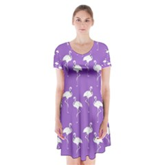 Flamingos Pattern White Purple Short Sleeve V-neck Flare Dress