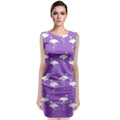 Flamingos Pattern White Purple Classic Sleeveless Midi Dress