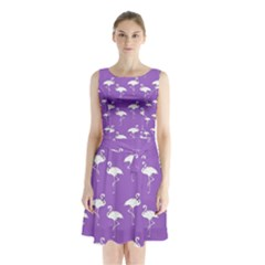 Flamingos Pattern White Purple Sleeveless Chiffon Waist Tie Dress