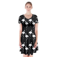 Flamingo Pattern White On Black  Short Sleeve V-neck Flare Dress